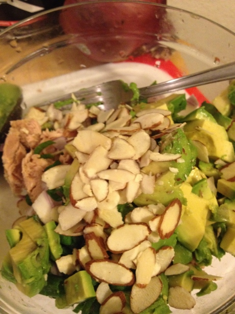 Add the fats. Add diced avocados, almonds, and 2 tablespoon of good quality olive oil.