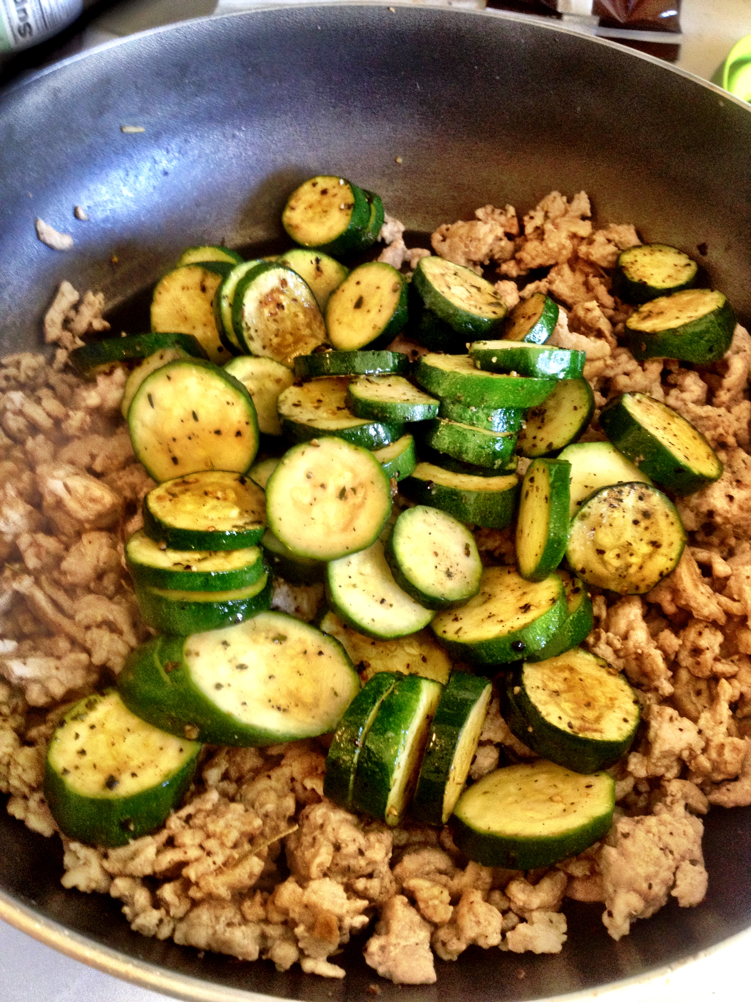 Add Zucchinis To Cooked Ground Turkey